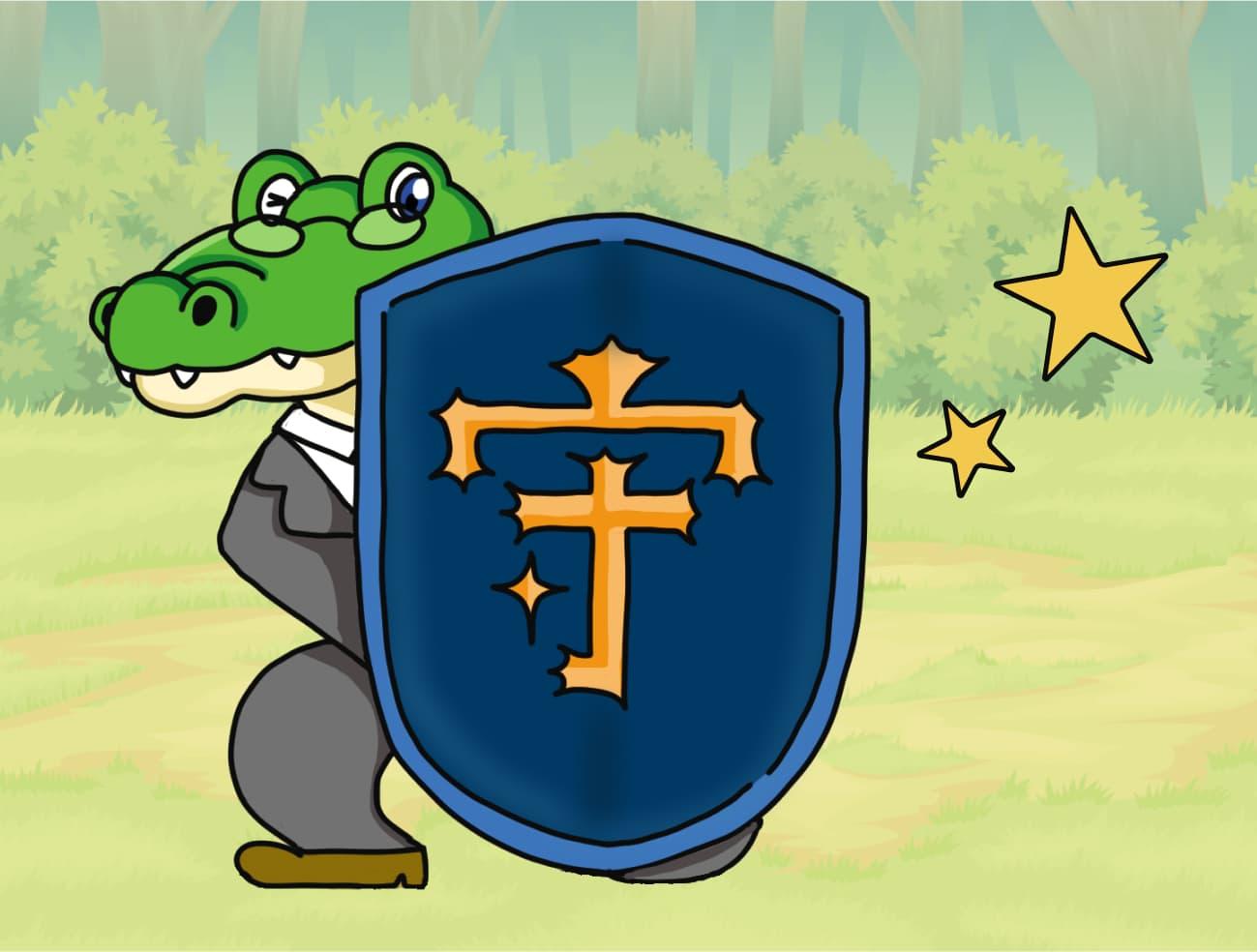 『守』の盾を持つワニ